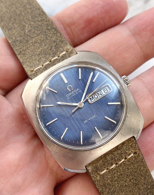 Blue Linen Dial Omega De Ville Automatic Day Date Vintage