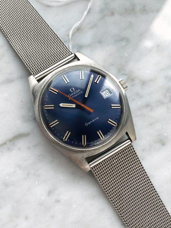 Factory Original Vintage Omega Geneve Automatic Blue Dial Orange Hand