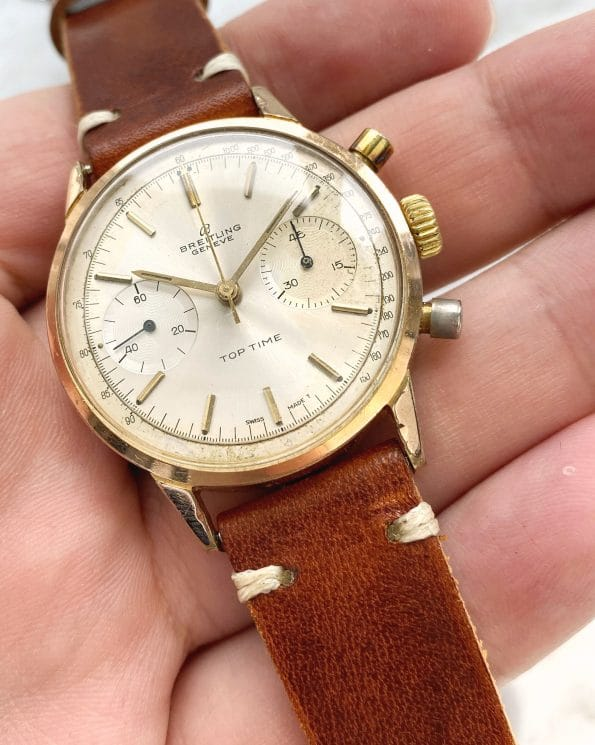 Serviced Breitling Top Time Vintage Gold Plated Pump Pushers Chronograph