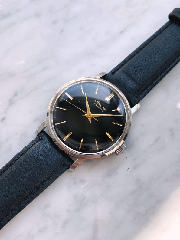 Vintage Alpina Watch with Black GILT Dial
