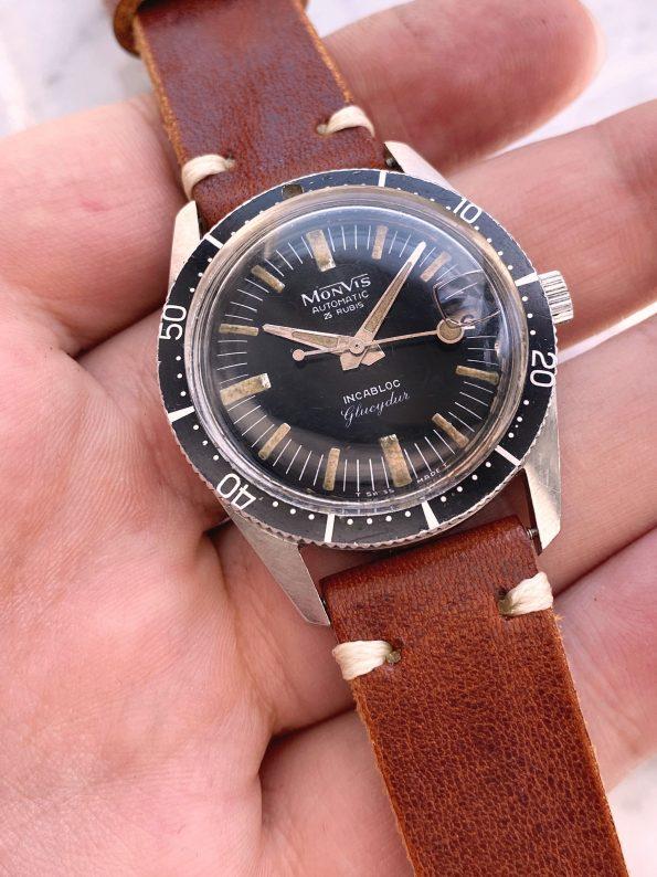 Great Vintage Monvis Diver Glucydur 35mm Tritium Dial Lollipop Hand