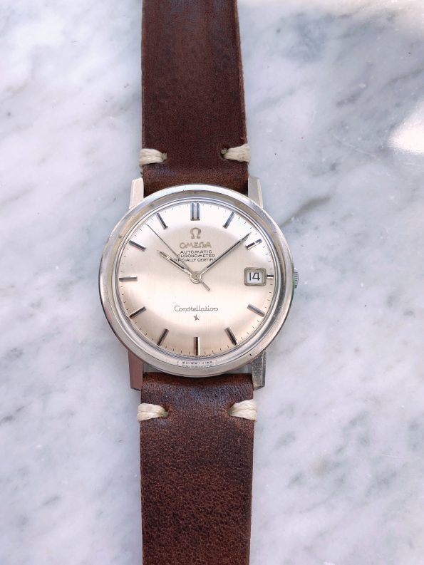 Omega Constellation Automatic Vintage Dome LINEN Dial Steel Date 35mm Calatrava 168.010