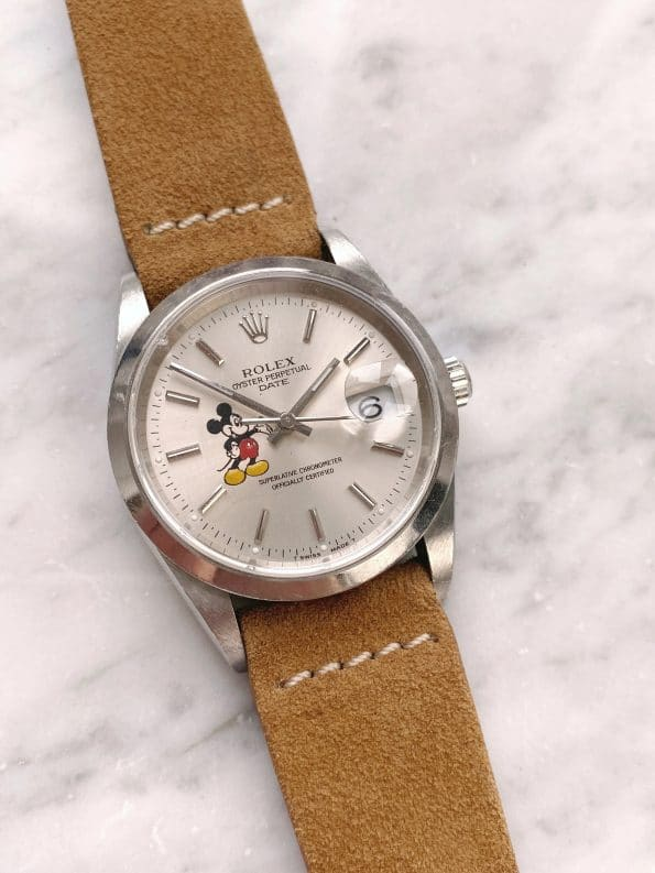 Vintage Rolex Date Automatic Customised Mickey Mouse Dial ref 15200 No Hole Quickset