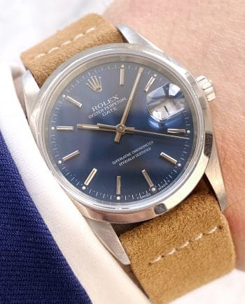 Vintage Rolex Date Blaues Ziffernblatt No Hole 15200 Automatic