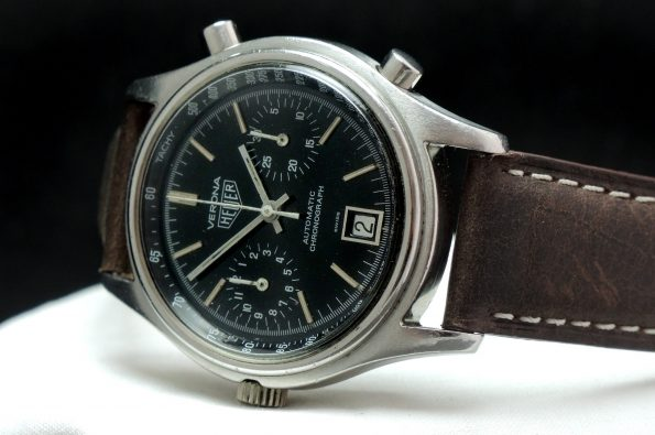 Rare Heuer Verona Automatic Chronograph with black dial and steel case