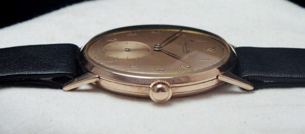 Serviced IWC Handwinding watch in solid 18ct pink gold case