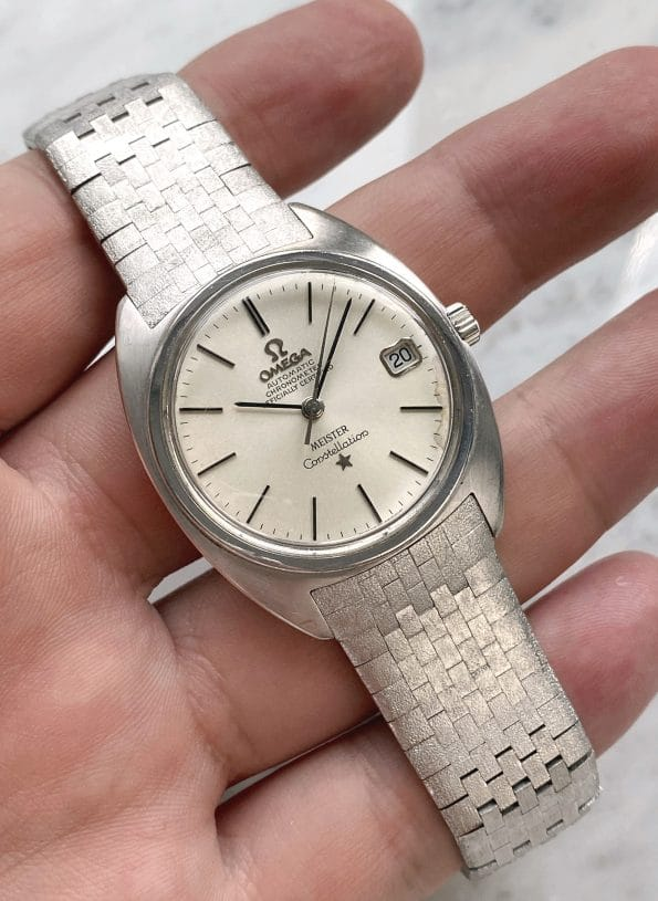 Very Rare White Gold Omega Constellation Vintage Automatic with Bracelet 168009 168017 Meister Dial