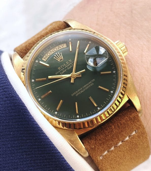 Rolex Day Date President 18ct Yellow Gold Customised Green Money Dial Ref 18038