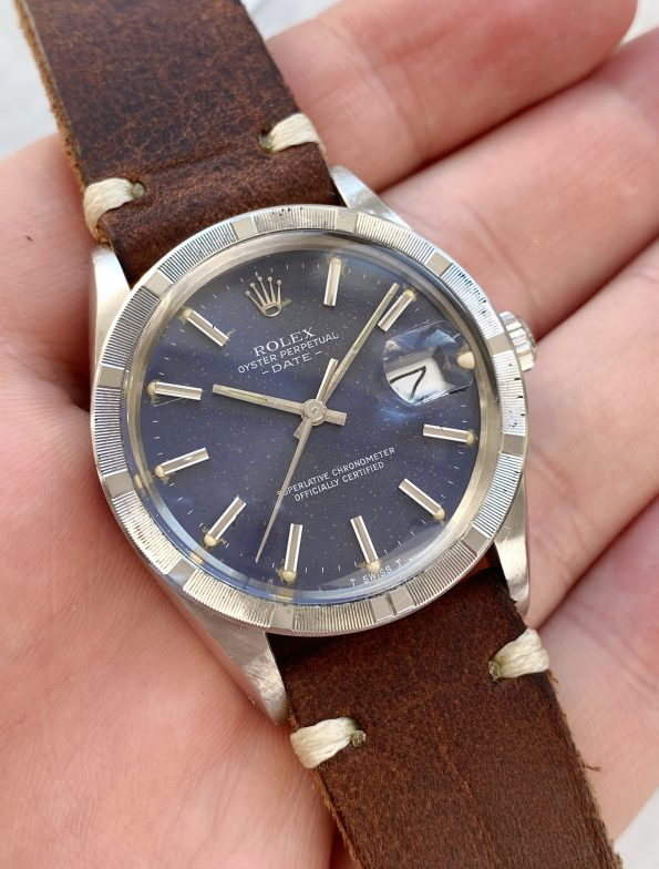 Rolex 15010 Date Vintage Blue Dial Date Engine Turned Bezel