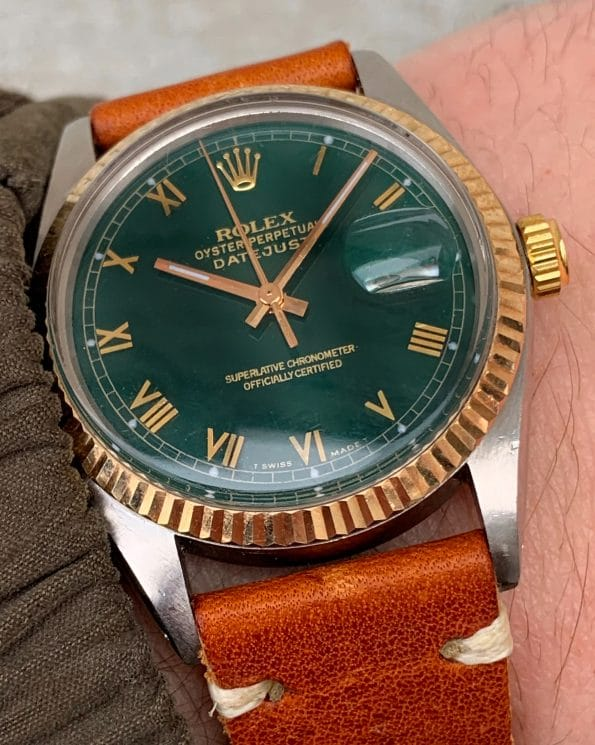 Eye Catching Rolex Datejust with restored Green Roman Numeral Dial
