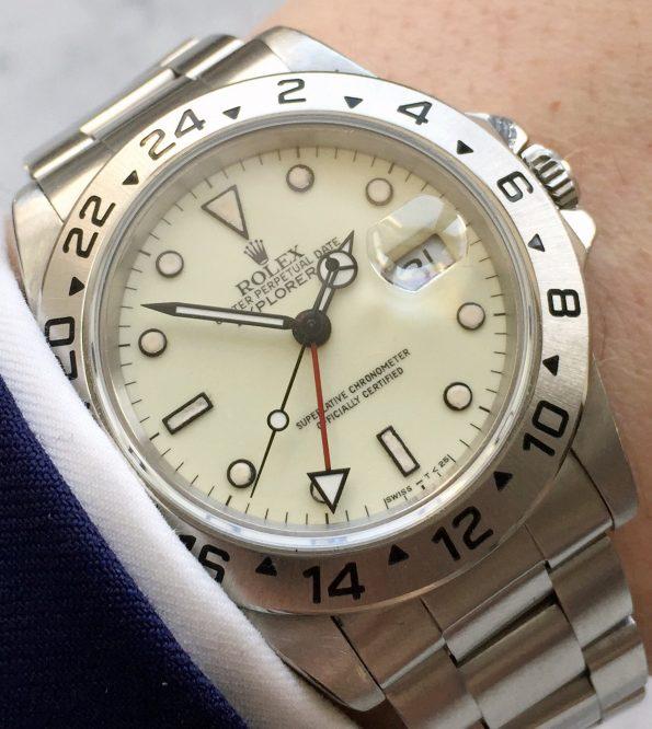 Cream Dialed Rolex Explorer 2 II Automatic 16570 Tritium Indices
