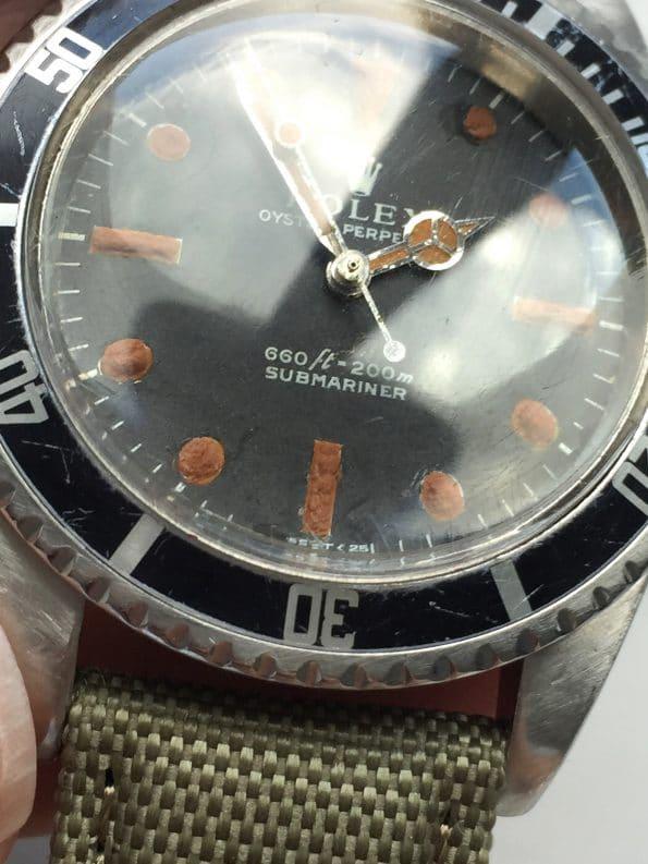 Tolle Vintage Rolex Ref 5513 Submariner Automatik Plexiglas 1968 Matte Non-Serif Feet First Dial