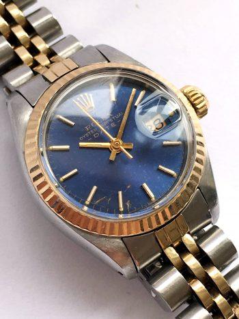 [:en]Gorgeous Blue Dial Rolex Ladies Oyster Perpetual Date[:de]Unrestaurierte Rolex Damen Oyster Perpetual Date Blaues ZB[:]