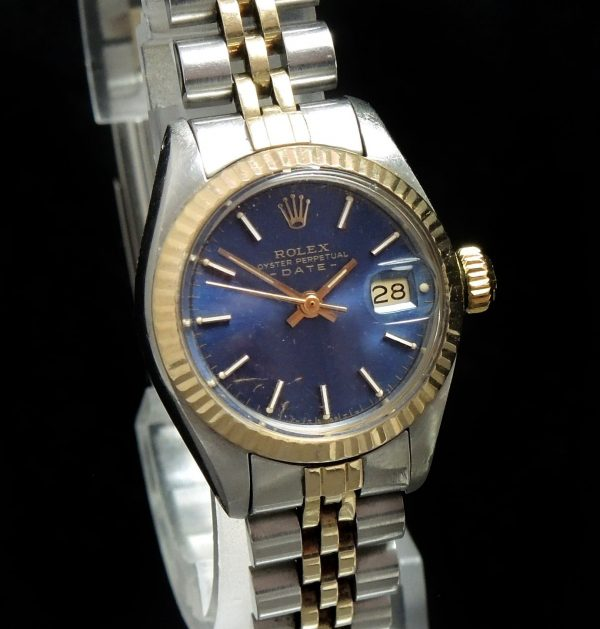 Gorgeous Blue Dial Rolex Ladies Oyster Perpetual Date