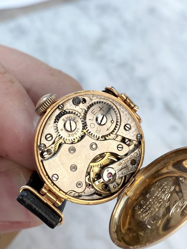 Vintage Rolex Lady Art Deco 9ct Solid ROSE Gold Hinged Lugs Golden Dial
