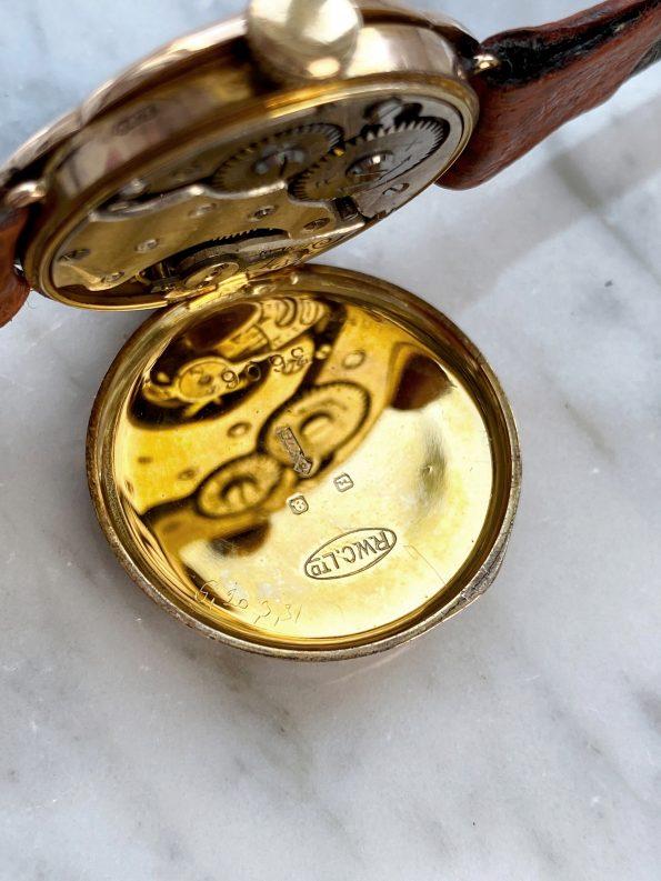 Vintage Rolex Damen Art Deco 9ct Massives Rosegold Blumenförmiges Gehäuse
