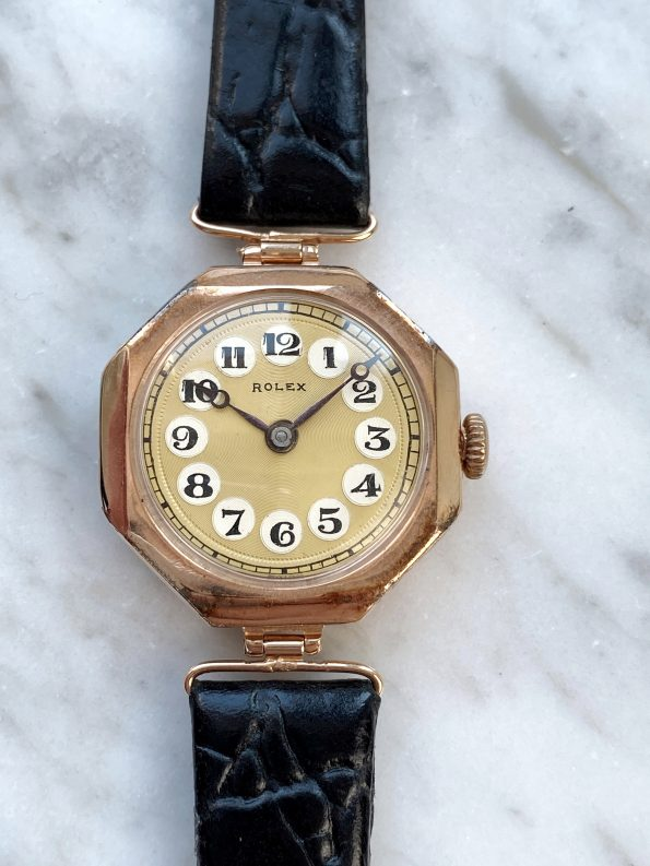 Vintage Rolex Lady Art Deco 9ct Solid ROSE Gold Hinged Lugs