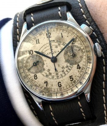Rare Lemania 37mm  One Pusher Button Chronograph Vintage 40ties