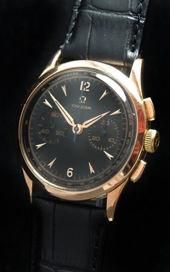 Serviced 36 mm Omega Vintage Chronograph in 18 carat pink gold