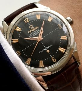 Omega Constellation Automatic black dial pink gold indizes