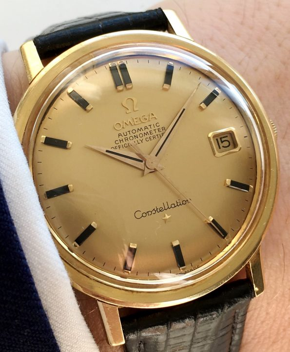Top 1967 Omega Constellation DeLuxe Solid 18k Gold Fullset
