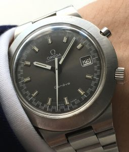 Perfect Omega Geneve Chronostop with black dial and Omega steel strap