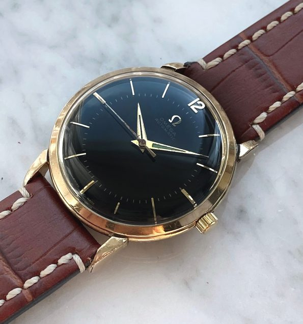 Vintage Omega Gold Plated Bumper Restored Black Dial