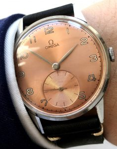 37.5mm Omega Oversize with salmon colored dial 30t2 vintage