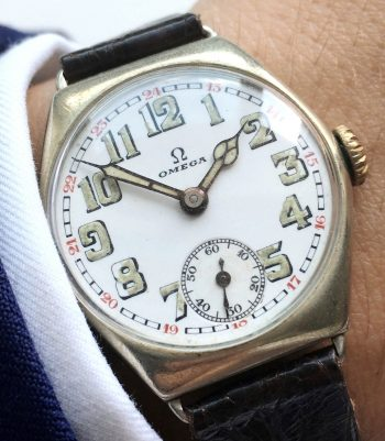 Serviced  Omega from the first world war with enamel dial