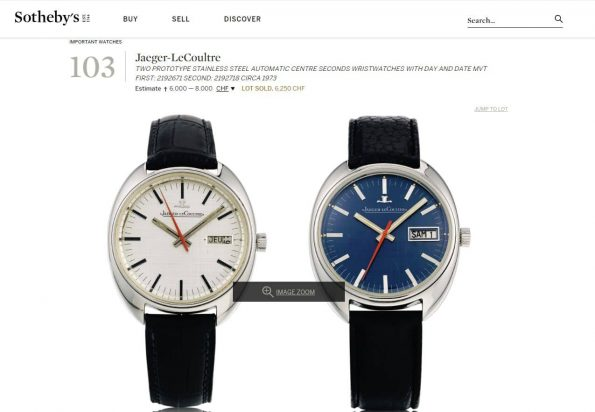 Auction Grade Jaeger LeCoultre Prototype sold at Sotheby's