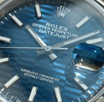 BLUE RIFFLE MOTIF TEXTURE JUBILEE Dial Rolex Datejust 36mm Automatic Steel Full Set August 2021