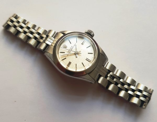 Rolex Ladies Oyster Perpetual Steel Linen Dial 6723