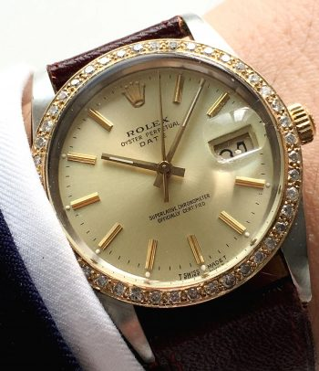 Serviced Rolex Date Datejust with Diammond bezel 34mm Vintage