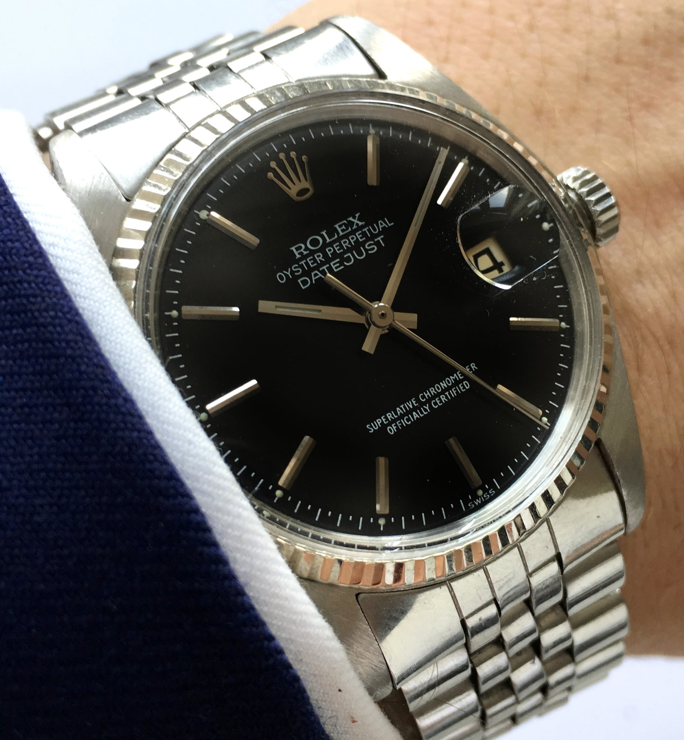 and watches bs dial gloss bulang w sons rolex datejust black