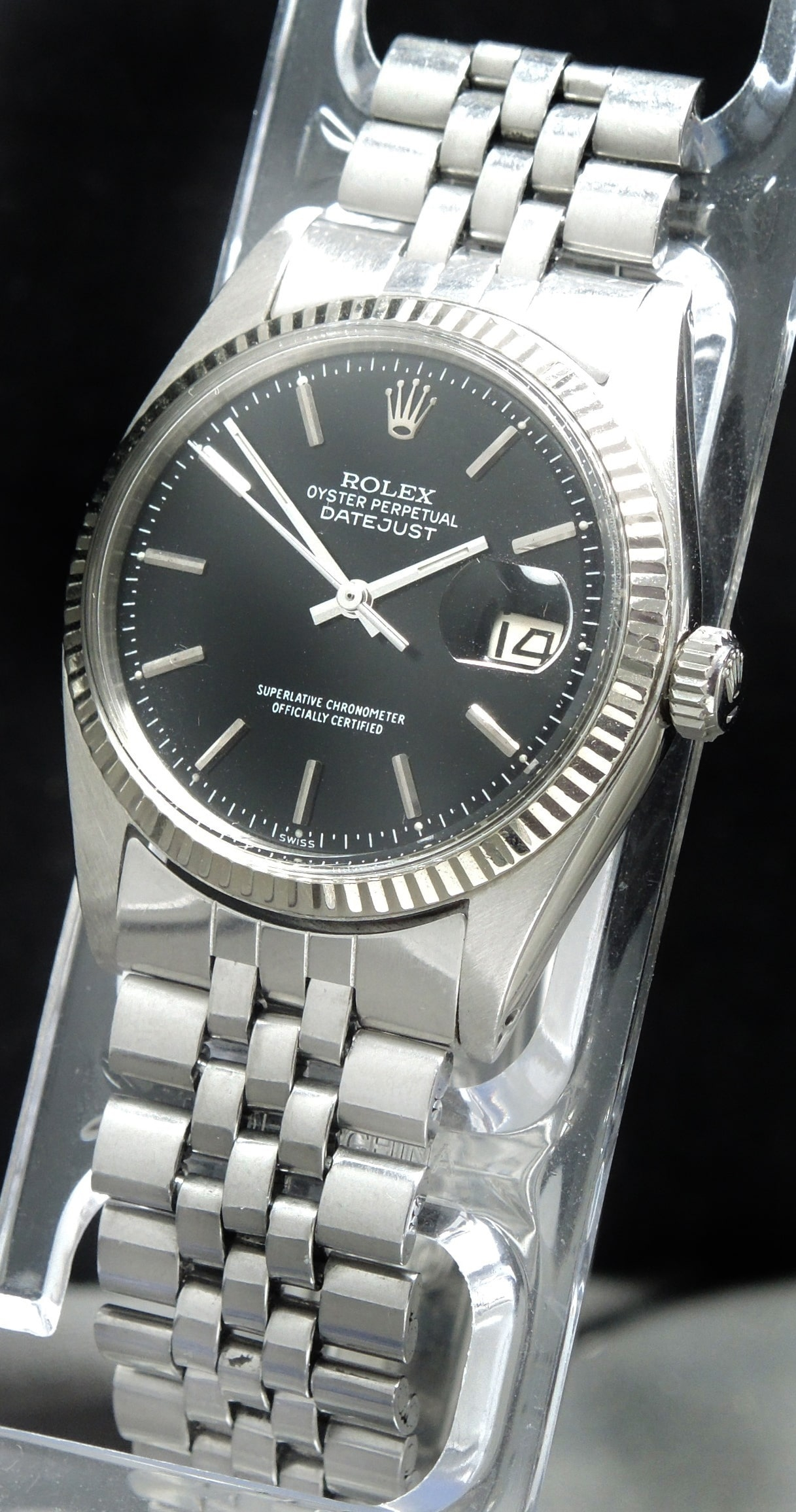 servicierte rolex datejust automatik schwarzes ziffernblatt vintage portfolio. Black Bedroom Furniture Sets. Home Design Ideas