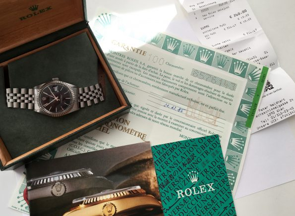 Serviced Rolex Datejust Automatic 16013 Full Set Box Papers black dial unrefurbished