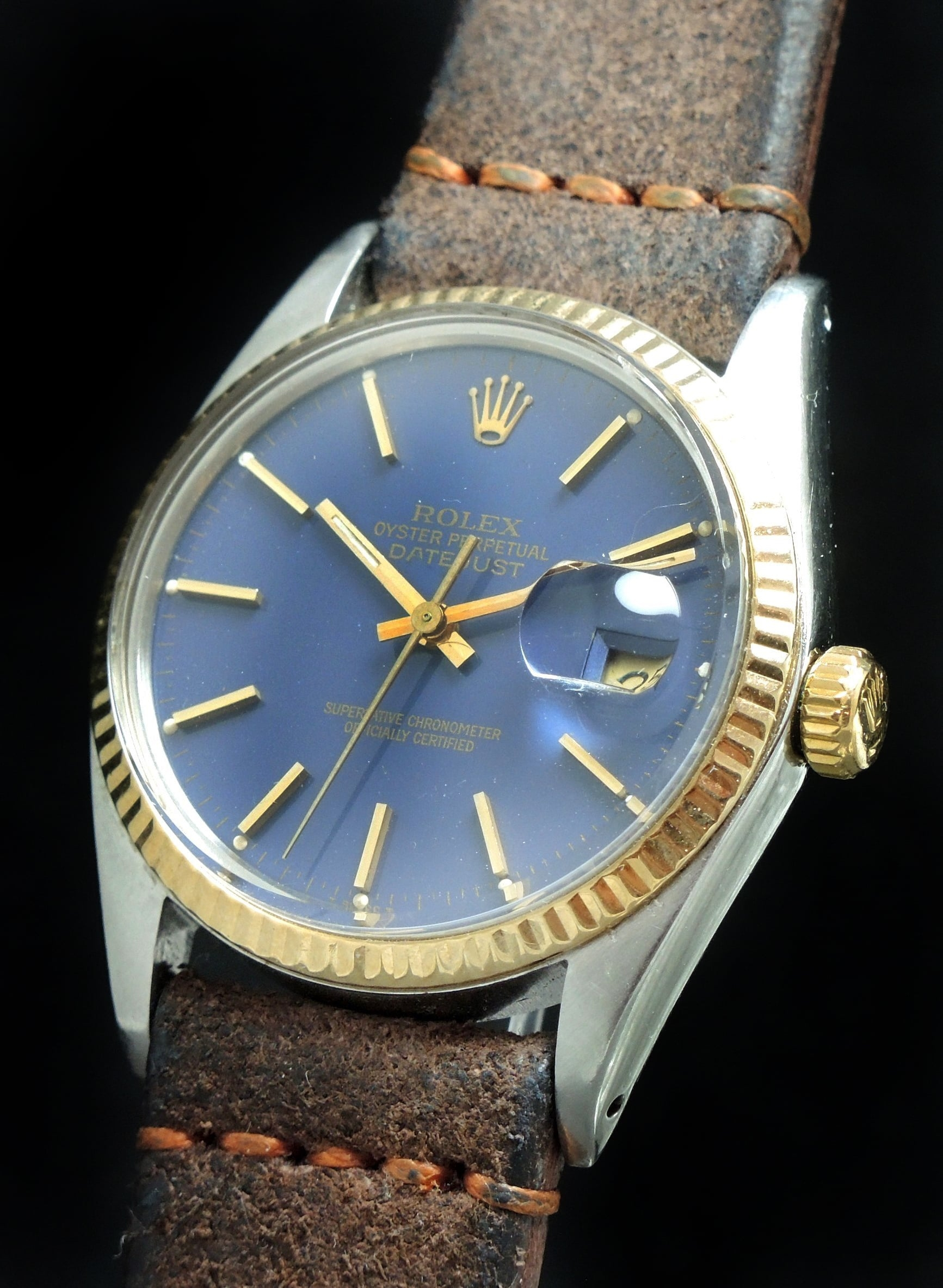 22f8f0d7aa5 Rolex Datejust 16013 with blue dial and Sude strap | Vintage Portfolio