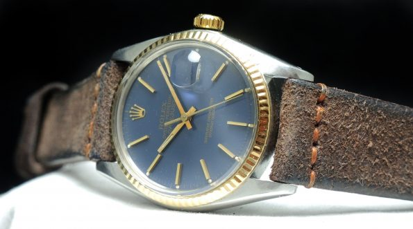 Rolex Datejust 16013 with blue dial and Sude strap
