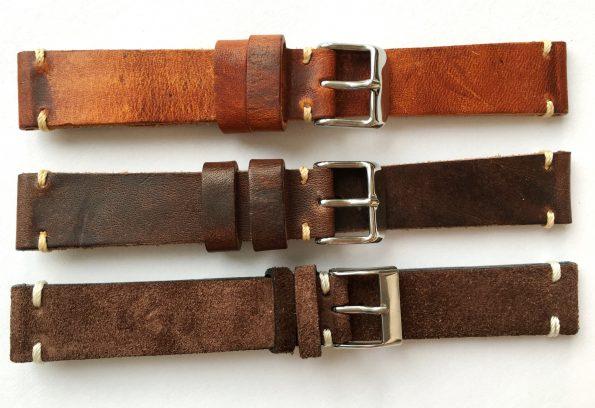 Wonderful 18mm Vintage Ecru Leather Straps, hand crafted