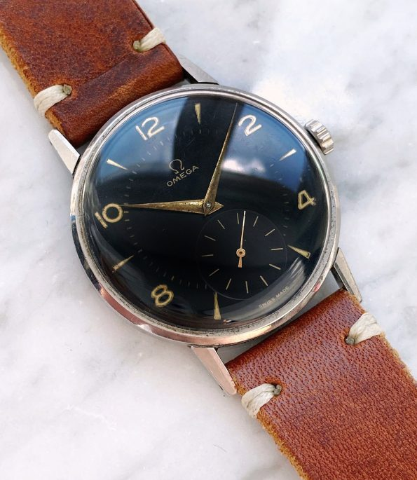 Vintage Omega Oversize Jumbo 37mm Black Restored Dial ref 2272