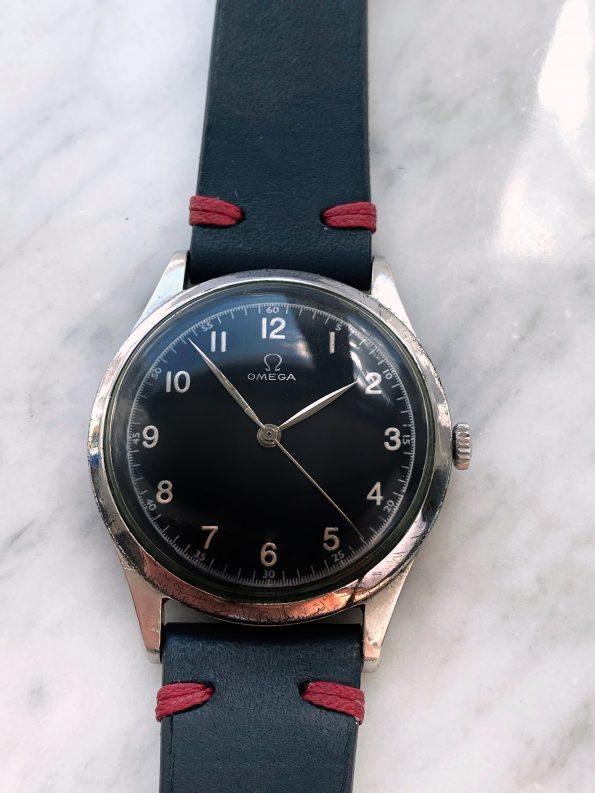 Serviced Vintage Omega Oversize Jumbo 38mm Black Restored Dial Ref 2256