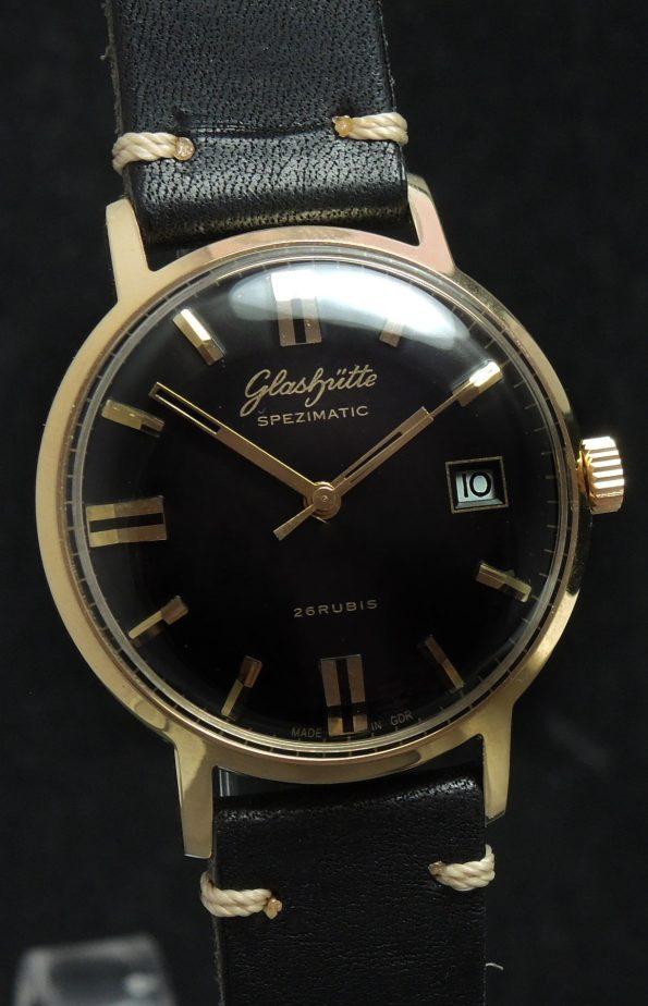 Vintage Glashütte Spezimatik Automatik schwarzes Ziffernblatt Datum