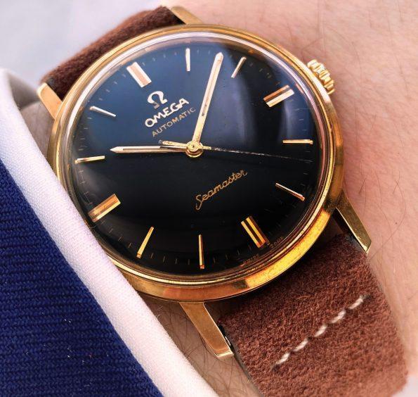 Vintage Omega Seamaster Pre De Ville Automatic SOLID GOLD Black Restored Dial