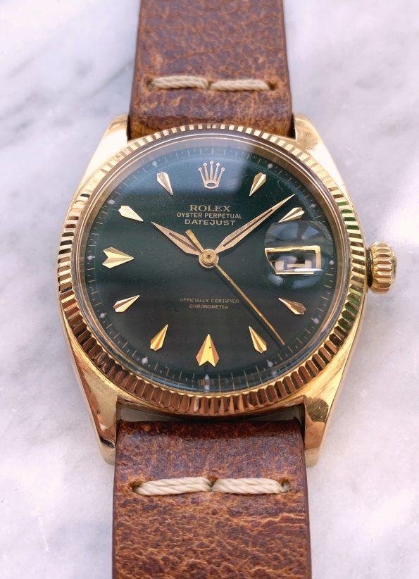 Roulette Date Vintage Rolex Datejust Solid 18ct Gold Customised Green Dial Automatic ref 6605