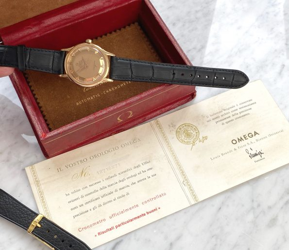 Extremely Rare Omega Constellation Rose Gold Pink Gold De Lux Luxe Full Set Box Papers Pie Pan