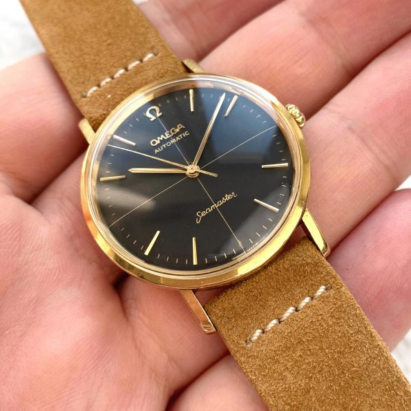 Omega Seamaster Solid Gold Automatic Vintage Black Restored Dial