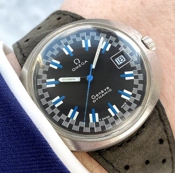 Omega Geneve Dynamic with very rare Black Racing Dial