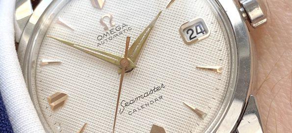Beautiful Omega Seamaster Calendar Automatic Vintage Rare Honeycomb Dial Fat Lugs Big Seahorse Logo