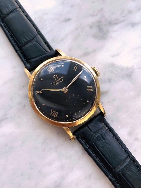 Serviced 33mm Omega Vintage Calatrava Solid Gold Handwinding Chronometre restored black dial 30t2rg