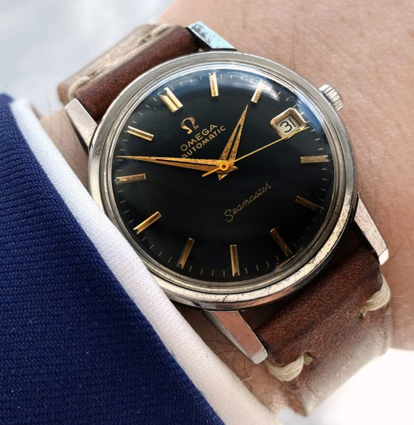 Serviced Omega Seamaster Automatic Vintage Black Restored Dial Date 166.003